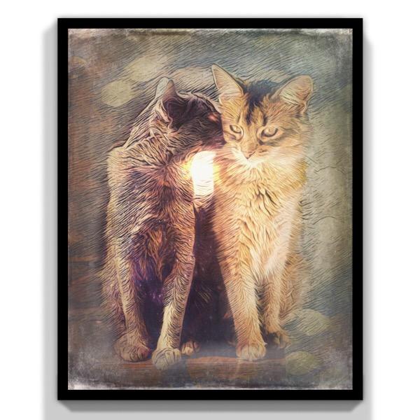 deux chats art vintage