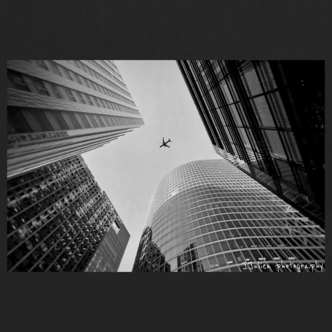 La Défense Modern buildings photography b&w