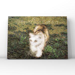 Chat blanc dans l'herbe style Japonais