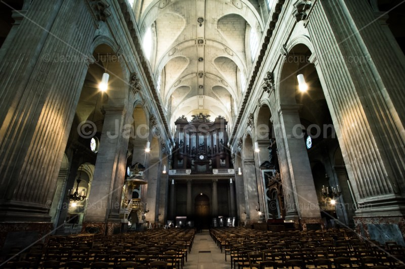 Saint-Sulpice church nave in France