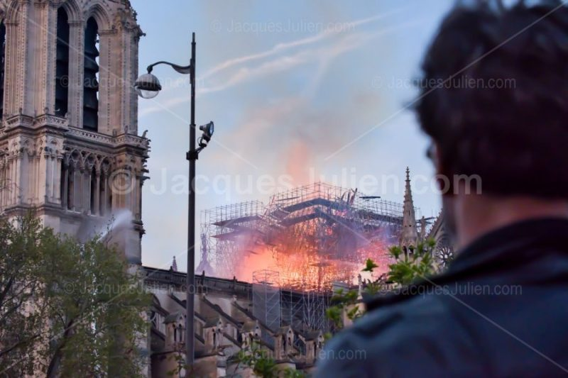 close view of Notre Dame cathedral burning